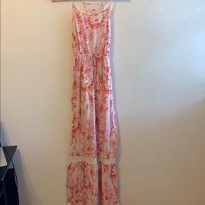 Pink, white, and orange maxi dress